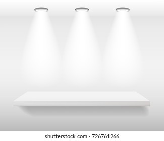 White realistic empty shelf on white wall with top lights. Vector illustration, mock-up background