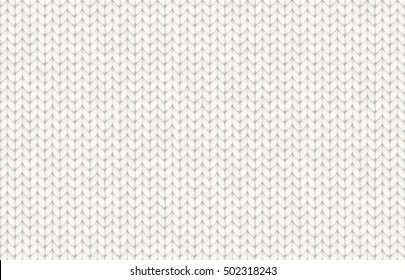 White realistic knit texture vector seamless pattern
