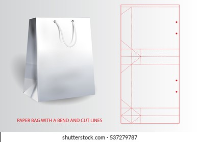 White realistic paper bag with a bend and cut lines.