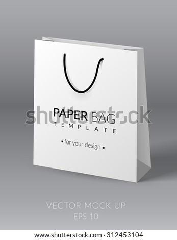 white realistic paper bag template vector stock vector royalty free