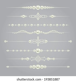 white realistic pearl dividers set collection isolated on grey background. vector illustration. design elements and page decor