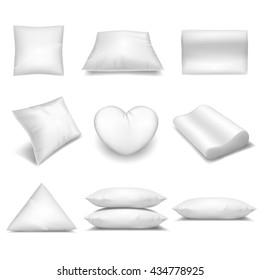 White realistic pillows set