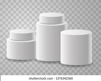 White realistic podiums on transparent backgound. First, second and third place. Vector podium.