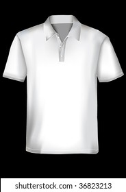 White realistic polo shirt design template with mesh