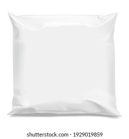 White realistic Polyethylene bag. Packing for a parcel or food and other products . Mock up for brand template. vector illustration.