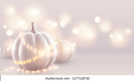 White realistic pumpkins and warm lights vector greeting card background. Halloween and wedding soft pink backdrop.
