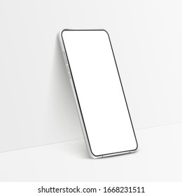 White realistic smartphone mockup. 3d mobile phone with blank white screen. Modern vector cell phone template on white background. Illustration of device 3d screen