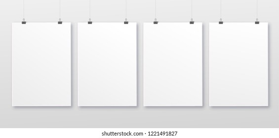 White realistic square empty picture frame on transparent background. mockup template isolated on neutral background. Vector illustration