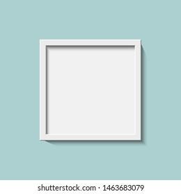 White realistic square empty picture frame.