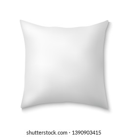 White realistic square pillows. Template fluffy cushion