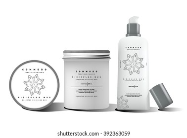 White realistic tube mock-up for cream dispenser, lotion, gel, medicine cream, tone cream, ointment, concealer, salve. Cosmetic vial set with design label. Containers for bulk mixtures.