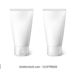 White realistic tubes isolated on white background. Can be used for cosmetic, medical, gels, creams, shampoo and pastes. Face and back view. Vector illustration. EPS10.