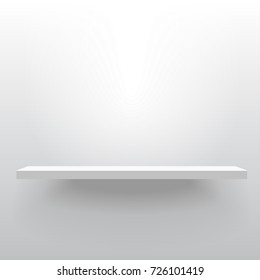 White realistic vector shelf attached to the wall. Advertising equipment mockup in 3d style. Empty template for product display. Exhibition furniture, isolated, light grey colored.