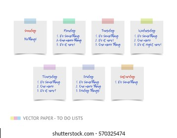 White realistic vector sticky notes with shadow and text isolated on white background. Post it paper for planning work week, to do list