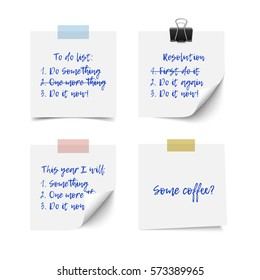 White realistic vector sticky notes with shadow and text isolated on white background. Post it paper for to do list, checklist, reminder