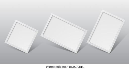White realistic vertical and horizontal photo frames isolated on light background. Vector illustration.