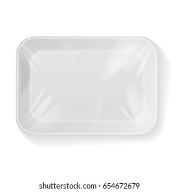 White Rectangle Blank Styrofoam Plastic Food Tray Container. Vector Mock Up Template for your design