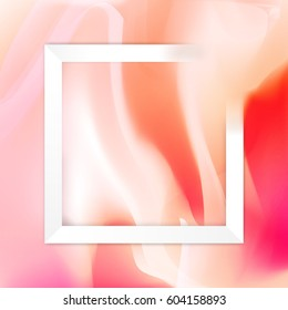 White rectangle frame on abstract mixed pastel pink rosa background vector illustration