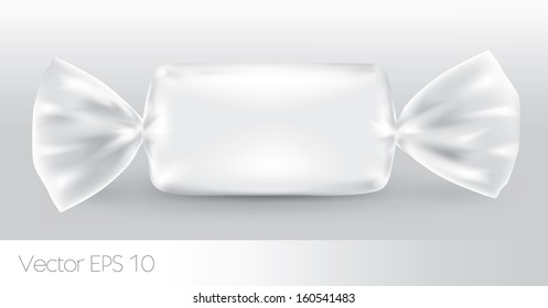 White rectangular candy package for new design, isolation of the product on a white background with reflections.