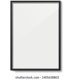 White rectangular frame vector template. White elegant frame with black borders and dropping shadow, isolated on background. Blank frame mockup.