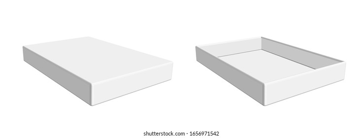White rectangular package for snacks, food and chocolate. Open box