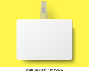 White rectangular self adhesive supermarket shelf paper wobbler with transparent strip, price banner or label isolated on yellow background. Vector template design.
