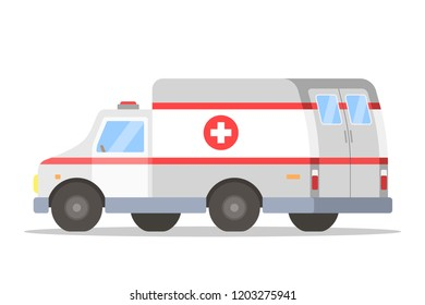 White and red ambulance car side view. Medical emergency van. Vector flat illustration