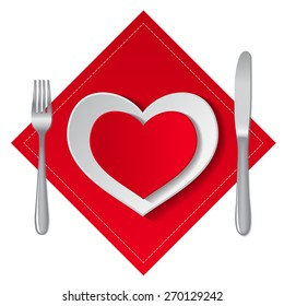 White and red empty plates in heart shape with fork and knife on a white background. Vector illustration.