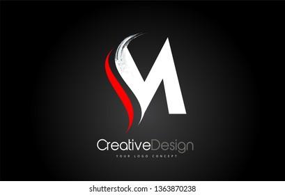 White and Red M Letter Design Brush Paint Stroke. Letter Logo on Black Background