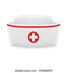 White and red nurse cap with on white background