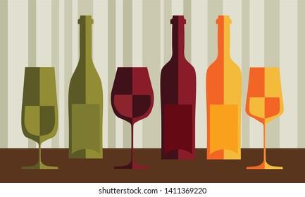 White, red, orange wine glasses and bottles vector illustration