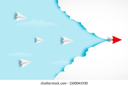White and red paper airplanes  leader flying together on blue sky and cloud background. Creative concept idea of  business success and leadership in paper craft art style design .Vector illustration