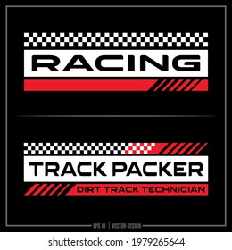 White and Red Race insignia, Race Team, Sports Design, Team logo, Checkered Flag