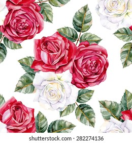 White and red roses. Seamless, hand-painted, watercolor pattern. Vector background.