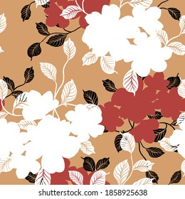 white and red seamless floral vector flowers bunches pattern on mustered background