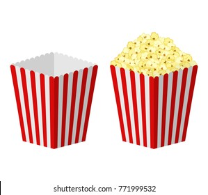 White and red striped paper popcorn bag isolated on white background. Classic movie-theater full and empty popcorn box. food cinema movie film vector illustration.