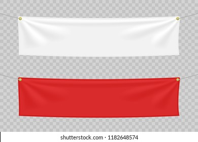 White and red textile banners with folds. Blank hanging fabric template set. Vector illustration