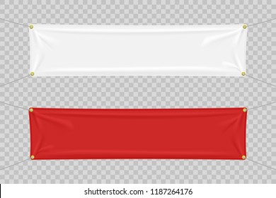 White and red textile banners with folds