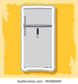 White refrigerator. Household electrical appliances.