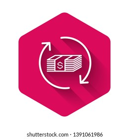 White Refund money icon isolated with long shadow. Financial services, cash back concept, money refund, return on investment, savings account. Pink hexagon button. Vector Illustration