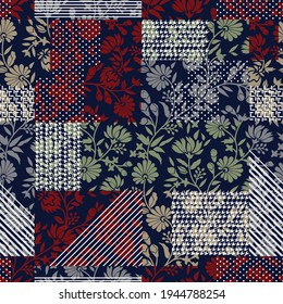 white retro stripe and negative pattern on seamless red cream and green flowers navy background