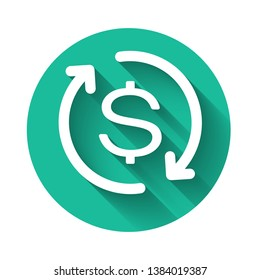 White Return of investment icon isolated with long shadow. Money convert icon. Refund sign. Dollar converter concept. Green circle button. Vector Illustration