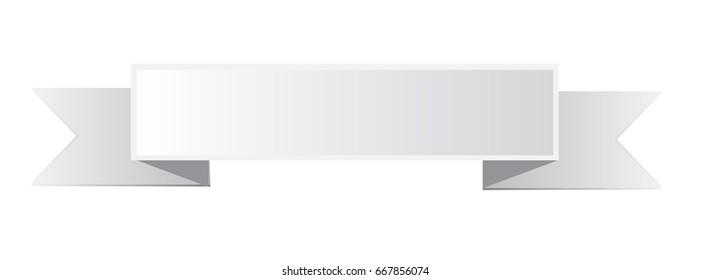 white ribbon banner icon on white background. white ribbon banner sign.