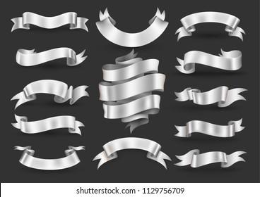 White ribbon banner set. Vector illustration.