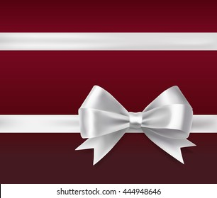white ribbon bow over red background. vector decorative design elements