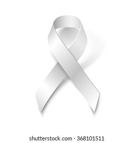White Ribbon Symbol, isolated on white background, vector design element.