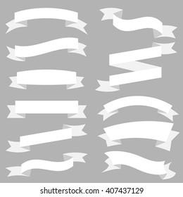 White Ribbons Set isolated On Grey Background. Vector Illustration