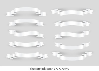 White ribbons set. Vector design elements isolated on gray background