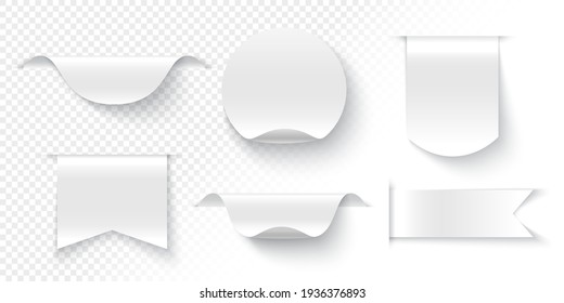 White ribbons, tags and stickers on transparent background. Vector illustration.
