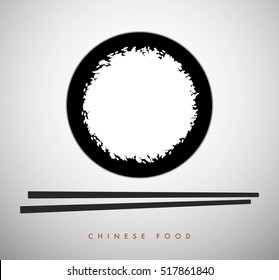 White rice bowl and chinese sticks. Asian food symbol. Good for logo.